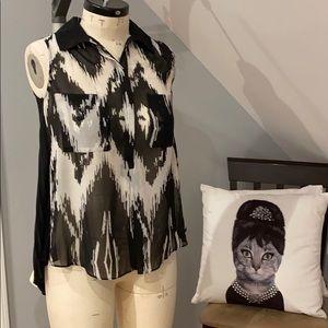 Bcbg black and white blouse